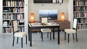 Обеденный раздвижной стол со стеклом «Диез Т11» С-343 с рисунком