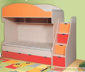 Кровать двухъярусная Бемби-7 с лестницей