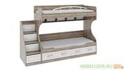 Двухъярусная кровать Прованс с лестницей и ящиками