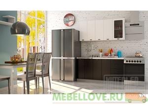 Кухня София черно-белая шагрень 1,6